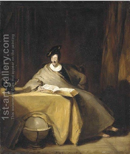 An elegant figure seated at a table reading a book, with symbols of the active and contemplative lives by Henry Liverseege - Reproduction Oil Painting