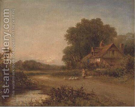 Feeding the geese outside a cottage by Henry Maidment - Reproduction Oil Painting