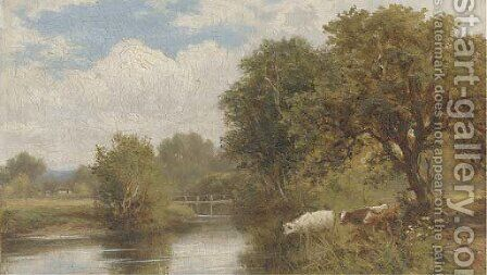 Cattle watering by Henry Maidment - Reproduction Oil Painting