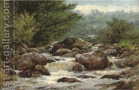 An angler on the rocks of Dulyn by Henry Measham - Reproduction Oil Painting