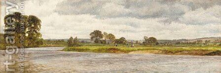 Figures on the banks of the Thames, an extensive landscape beyond by Henry Meynell Rheam - Reproduction Oil Painting