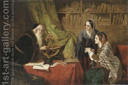 Consulting the astrologer by Henry Nelson O'Neil - Reproduction Oil Painting