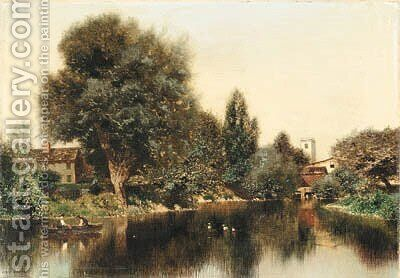 Boating on a Pond by Henry Pember Smith - Reproduction Oil Painting