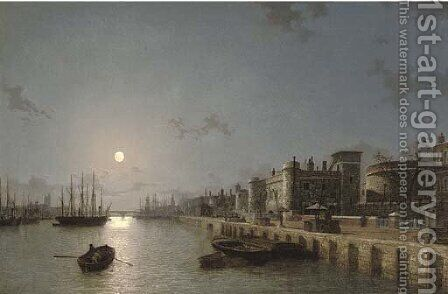 View of the Thames by moonlight, towards London Bridge, with the Tower of London and Traitors' Gate in the foreground by Henry Pether - Reproduction Oil Painting