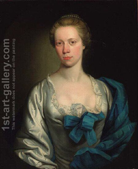 Portrait of a lady, half-length, in a white dress trimmed with lace, with a blue shawl, feigned oval by Henry Pickering - Reproduction Oil Painting
