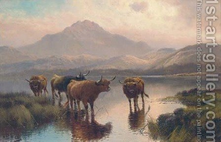 Highland cattle, Loch Ness by Henry R. Hall - Reproduction Oil Painting