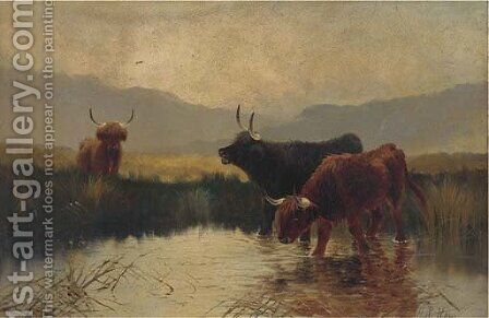 Cattle watering in a Highland landscape by Henry R. Hall - Reproduction Oil Painting