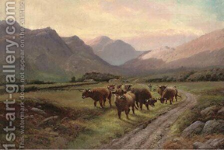 The Crofter's herd, Glen Nevis by Henry R. Hall - Reproduction Oil Painting