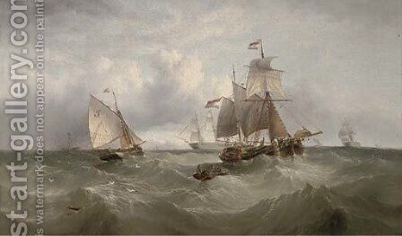 A merchantman heaving-to to await the arrival of the pilot cutter by Henry Redmore - Reproduction Oil Painting