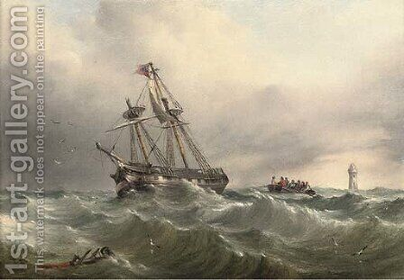 Rowing back to the mainland by Henry Redmore - Reproduction Oil Painting