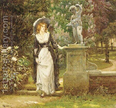 Girl in an ornamental garden by Henry Reynolds Steer - Reproduction Oil Painting
