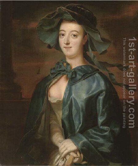 Portrait of a lady, half-length, in a blue silk cape and hat by Henry Robert Morland - Reproduction Oil Painting
