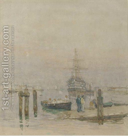 H.M.S. Victory lying at her permanent mooring in Portsmouth Harbour by Henry Robert Robertson - Reproduction Oil Painting