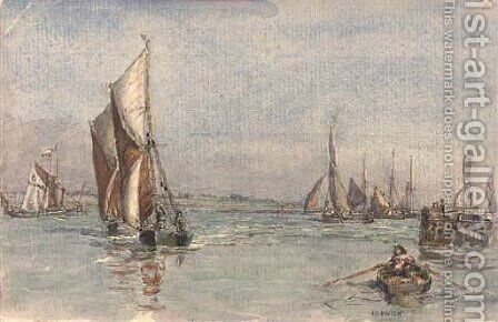 Fishing boats running into the harbour at Harwich by Henry Robert Robertson - Reproduction Oil Painting