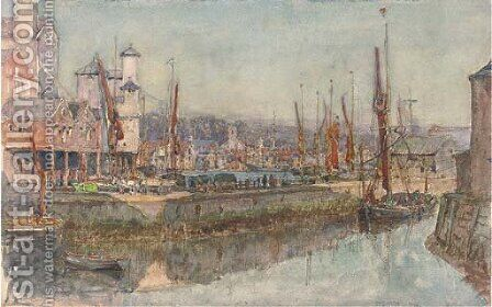 The harbour at Ipswich by Henry Robert Robertson - Reproduction Oil Painting