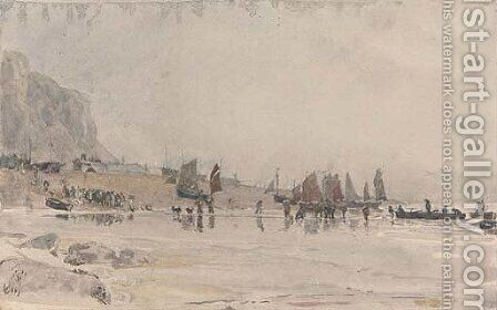 The return of the Hastings fishing fleet by Henry Robert Robertson - Reproduction Oil Painting