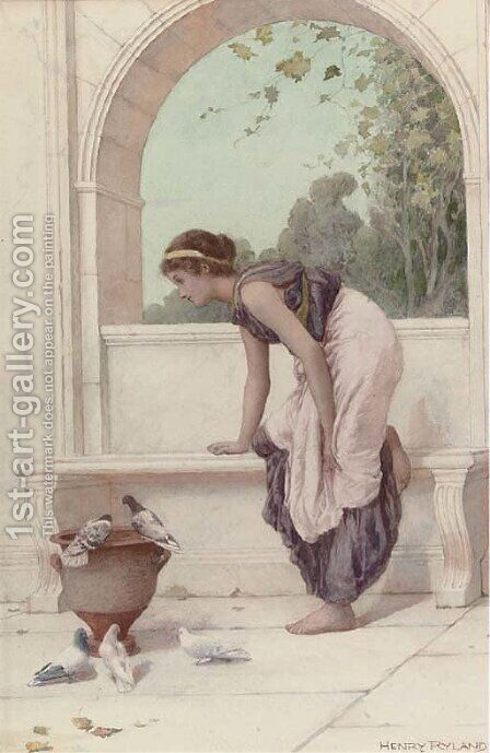 A classical maiden on a terrace with doves and pigeons by Henry Ryland - Reproduction Oil Painting