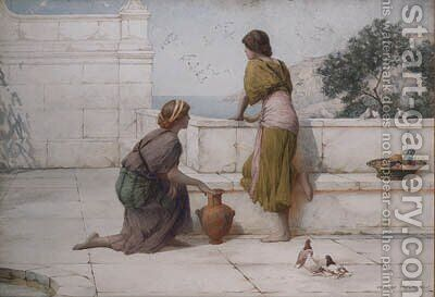 Young Girls On A Classical Terrace With A View Of The Sea Beyond by Henry Ryland - Reproduction Oil Painting