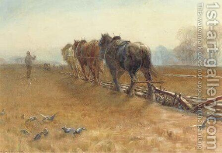 The plough team by Henry H. Sands - Reproduction Oil Painting