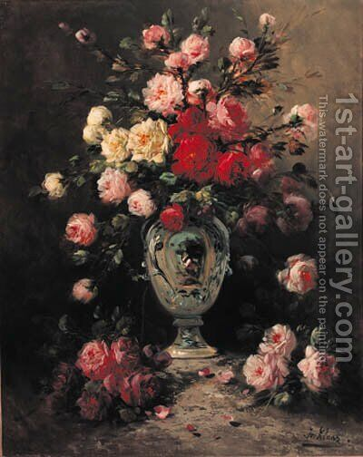 Flowers in a tall vase by Henry Schouten - Reproduction Oil Painting