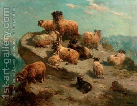 Mountain sheep on a cliff's edge by Henry Schouten - Reproduction Oil Painting