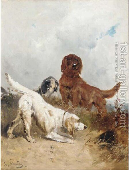 Setters on the scent by Henry Schouten - Reproduction Oil Painting