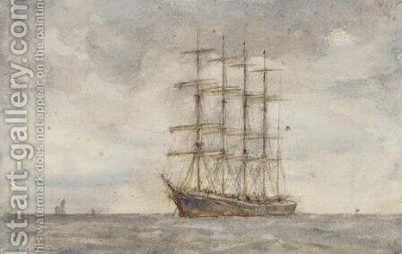 A windjammer lying at anchor 2 by Henry Scott Tuke - Reproduction Oil Painting