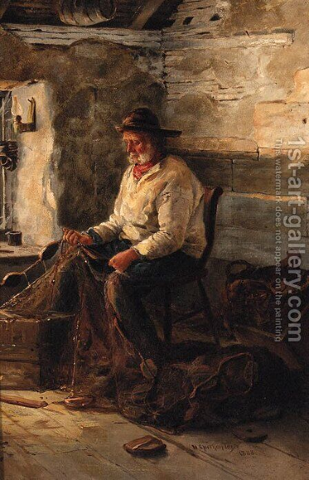 Mending The Nets by Henry Spernon Tozer - Reproduction Oil Painting