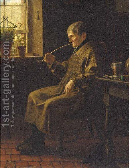 A quiet pipe by Henry Stacy Marks - Reproduction Oil Painting