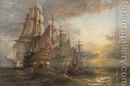 A Squadron of Danish warships moored off the entrance to Portsmouth harbour, with the masts of shipping in the harbour in the distance by Henry Thomas Dawson - Reproduction Oil Painting