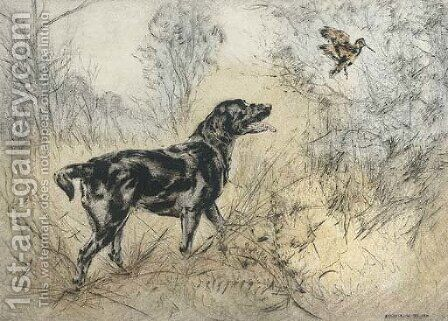 A labrador putting up a snipe by Henry Wilkinson - Reproduction Oil Painting