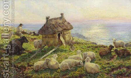 On the Cliffs, Picardy 2 by Henry William Banks Davis, R.A. - Reproduction Oil Painting