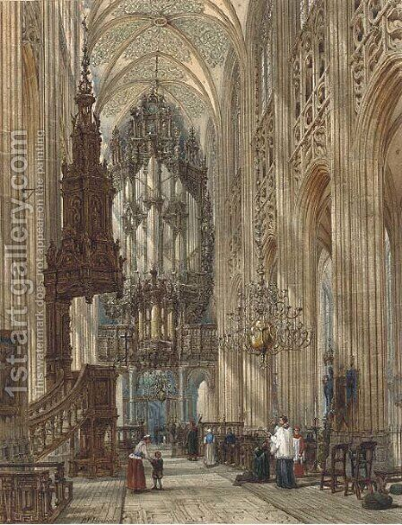 Figures in a cathedral interior by Henry William Brewer - Reproduction Oil Painting