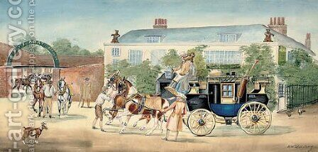 A change of horses outside the Bear by Henry William Standing - Reproduction Oil Painting