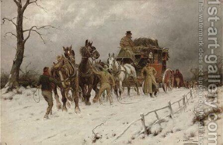 A halt in the snow by Henry William Standing - Reproduction Oil Painting
