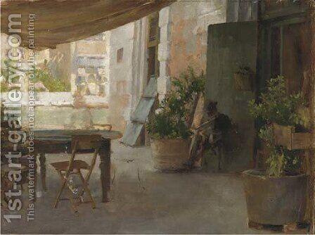 On the terrace of a Venetian villa by Henry Woods - Reproduction Oil Painting