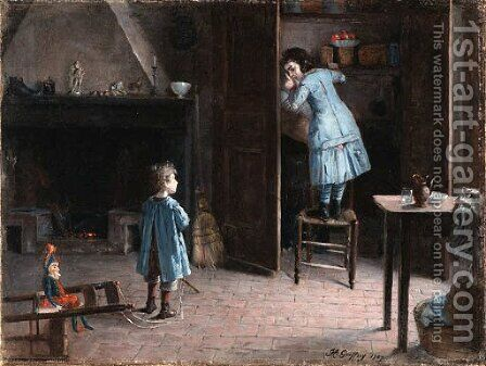 Children in an interior by Henri-Jules-Jean Geoffroy (Geo) - Reproduction Oil Painting