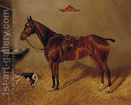 Hotspur, a saddled liver chestnut hunter with a dog in a stable by Herbert Jones - Reproduction Oil Painting