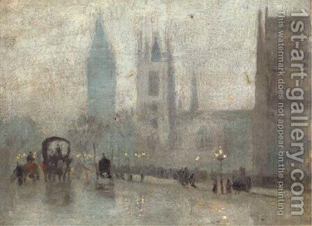 St. Margaret's Westminster, and Big Ben by Herbert Menzies Marshall - Reproduction Oil Painting