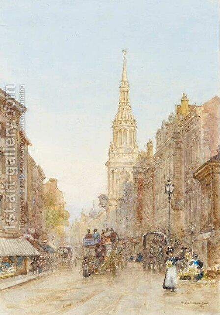 Church tower by Herbert Menzies Marshall - Reproduction Oil Painting