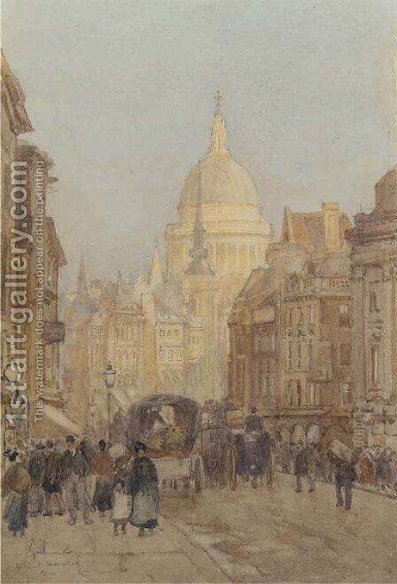 Fleet Street looking towards St. Paul's by Herbert Menzies Marshall - Reproduction Oil Painting