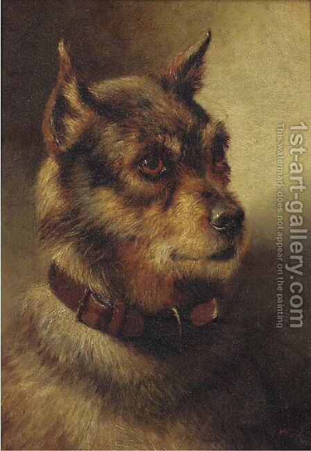 A border terrier by Herbert William Weekes - Reproduction Oil Painting