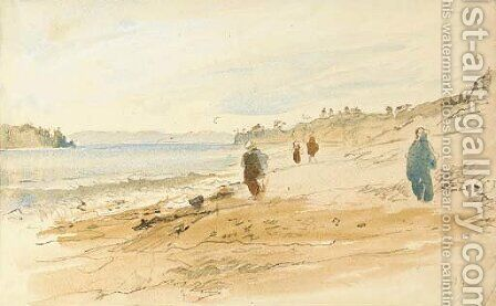 Figures on a beach by Hercules Brabazon Brabazon - Reproduction Oil Painting