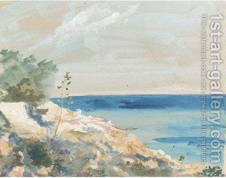 On the Sicilian coast by Hercules Brabazon Brabazon - Reproduction Oil Painting