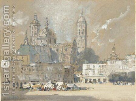 Possibly Salamanca Cathedral by Hercules Brabazon Brabazon - Reproduction Oil Painting