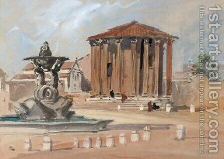 The Temple of Vesta, Rome by Hercules Brabazon Brabazon - Reproduction Oil Painting