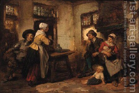 A family in a rustic interior by Herman Frederik Carel ten Kate - Reproduction Oil Painting