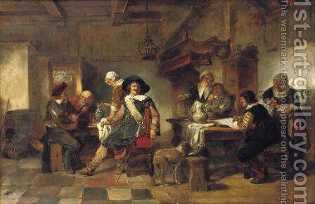 In the tavern 2 by Herman Frederik Carel ten Kate - Reproduction Oil Painting