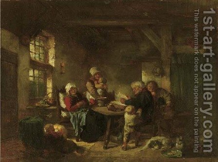 Reading time a family from Marken in an interior by Herman Frederik Carel ten Kate - Reproduction Oil Painting