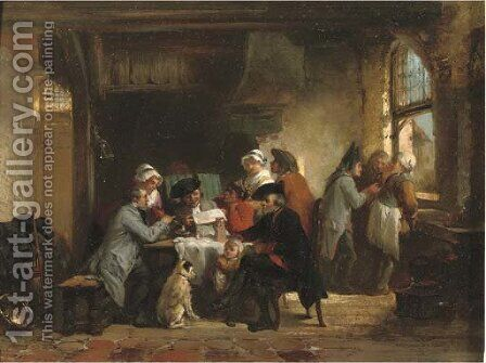 Spreading the news by Herman Frederik Carel ten Kate - Reproduction Oil Painting